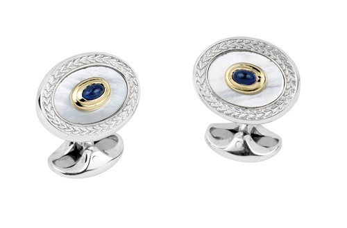 18ct Gold & Sterling Silver Wreath Edge Cufflinks