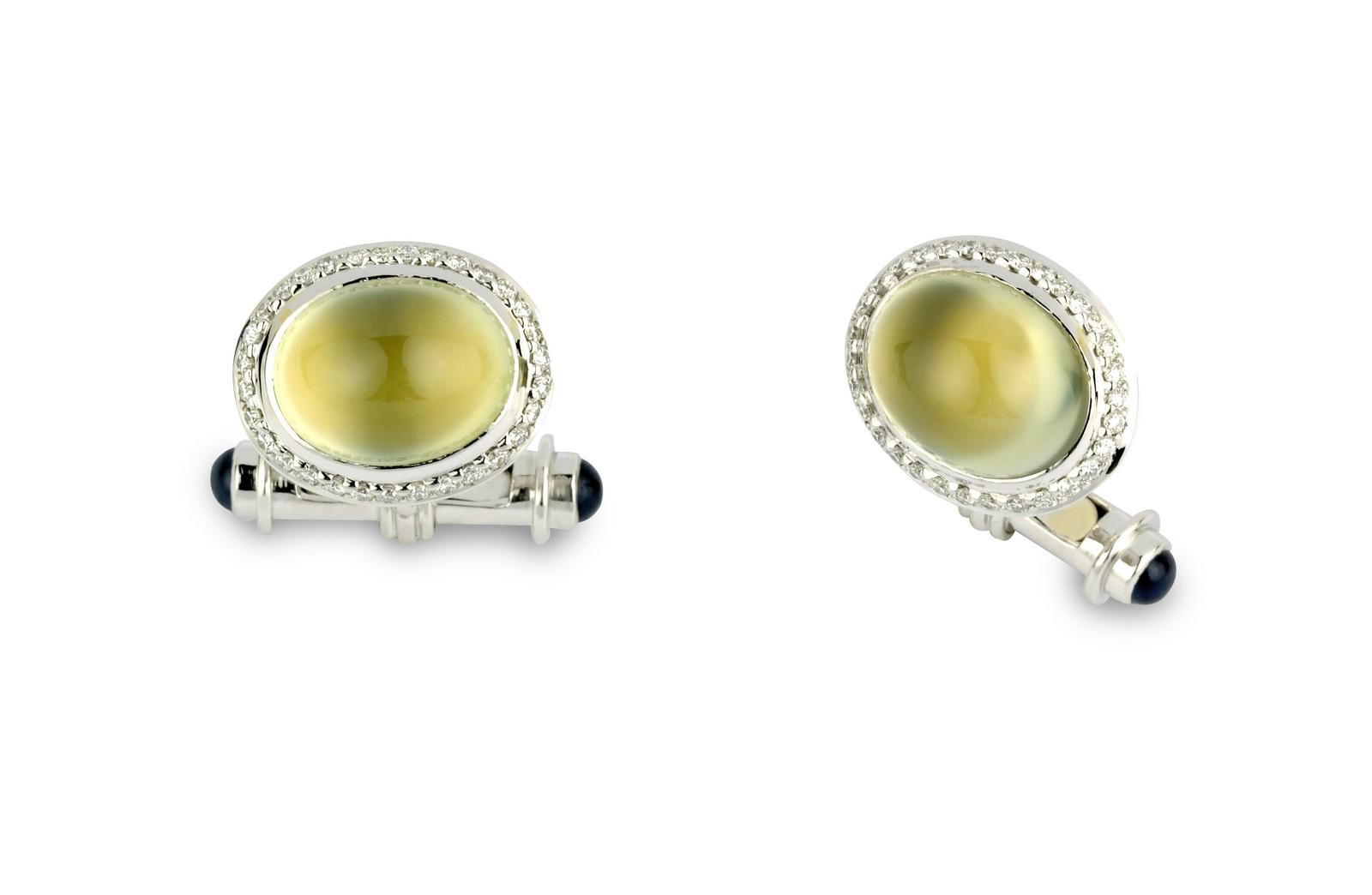 18ct White Gold Cufflinks with Prehnite