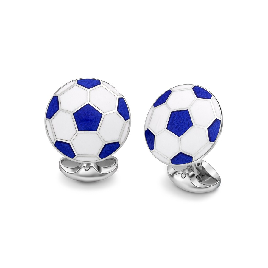 Blue & White Football Cufflinks