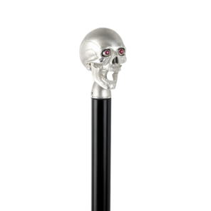 Black Walking Stick with High Shine Skull Head