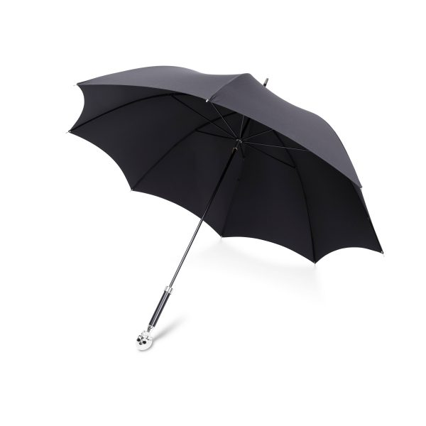 Large Black Umbrella with Skull Head Handle