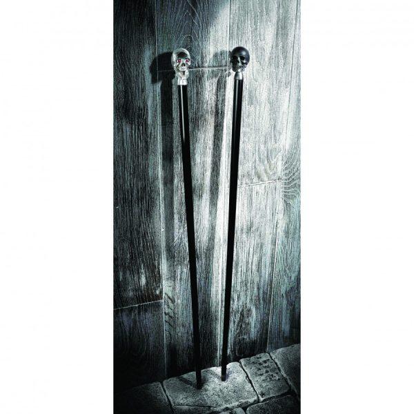 Black Walking Stick with Matte Black Skull Head
