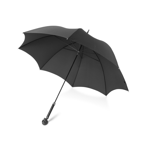 Large Black Umbrella With Skull Head Handle In Matte Black Finish