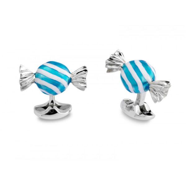 Sterling Silver Blue & White Striped Round Sweet Cufflinks