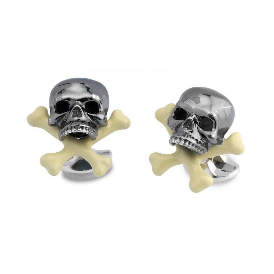 Sterling Silver Skull & Cross Bone Cufflinks