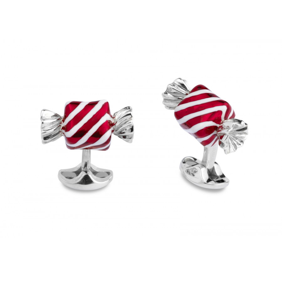 Sterling Silver Square Sweet Cufflinks with Red & White Stripes