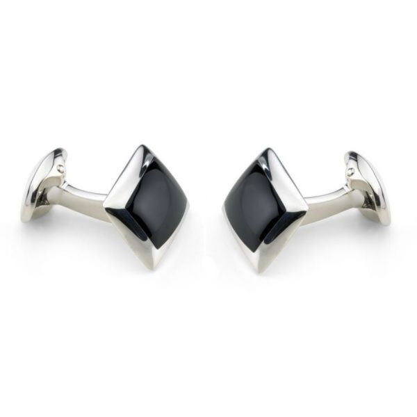 Sterling Silver Oblong Cufflinks with Onyx Inlay