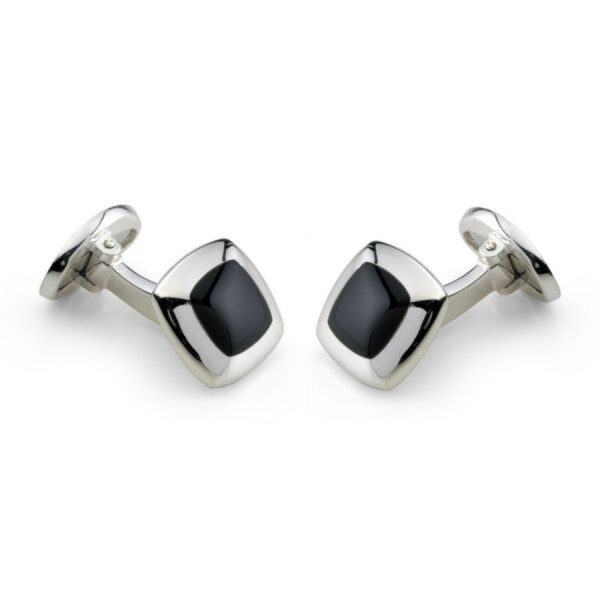 Sterling Silver Cushion Cufflinks with Onyx Inlay
