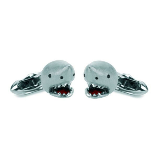 18ct White Gold Shark Cufflinks with Moving Jaw and Diamond Eyes