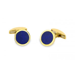 18ct Yellow Gold Cufflinks with Lapis Lasuli Inlay