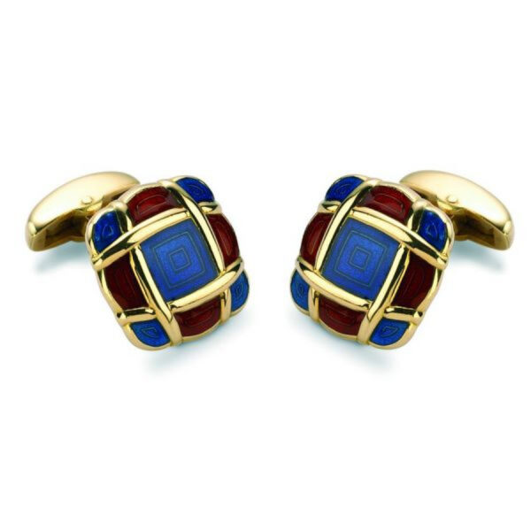 18ct Yellow Gold Cushion Style Enamel Cufflinks