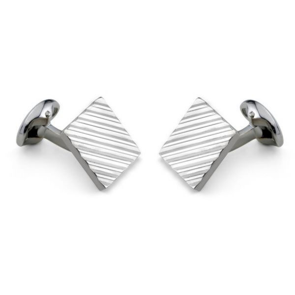 Sterling Silver Square Engine Turned Cufflinks