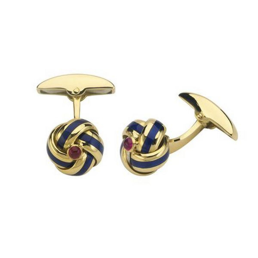 18ct Gold Knot Enamel Cufflinks with Ruby Centre