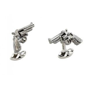 Sterling Silver Revolver Gun Cufflinks