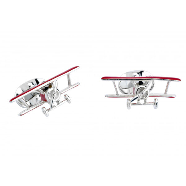 Sterling Silver Red Biplane Cufflinks with Rotating Propeller