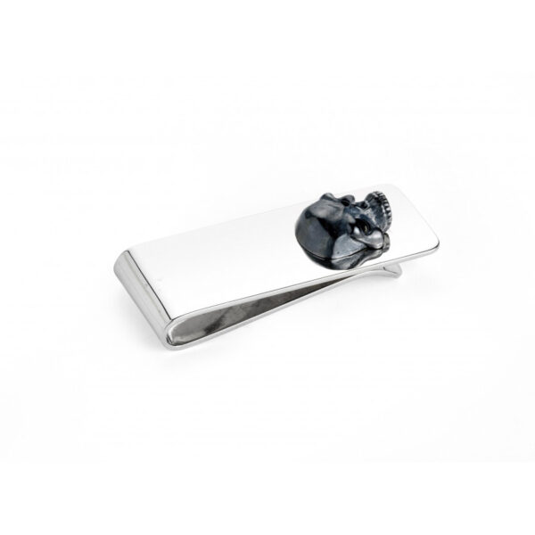 Sterling Silver Money Clip with Oxidised Skull