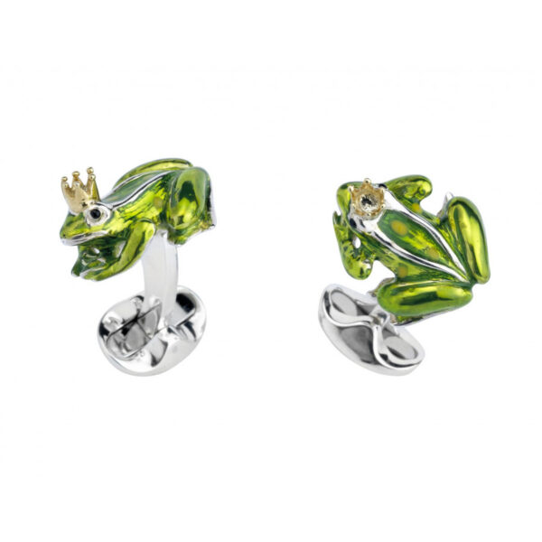 Sterling Silver Green Frog With Crown Cufflinks