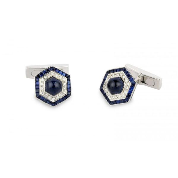18ct White Gold Hexagonal Cufflinks with Sapphire and Diamond