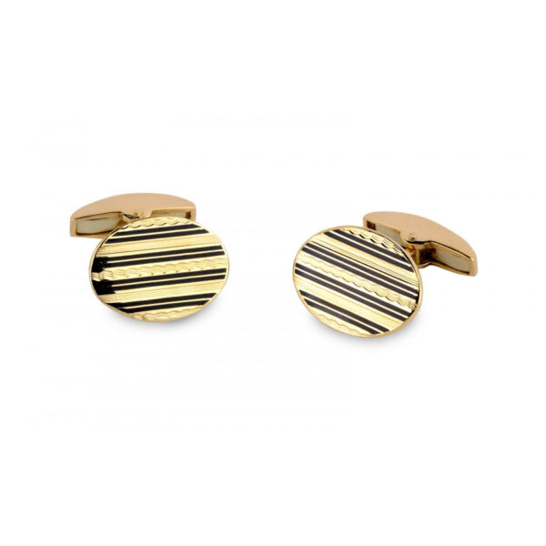 18ct Rose Gold Oval Engine Turned Cufflinks