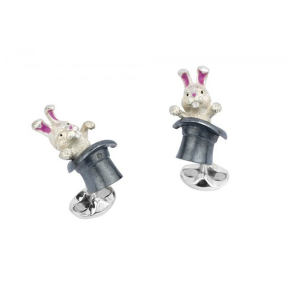 Sterling Silver Rabbit in Hat Cufflinks