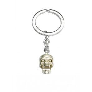 Sterling Silver Skull Keyring with Diamond Eyes