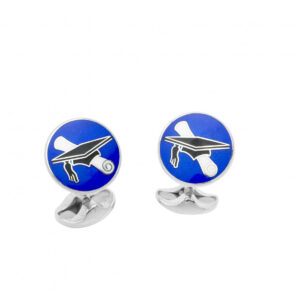 Sterling Silver Graduation Cufflinks in Blue