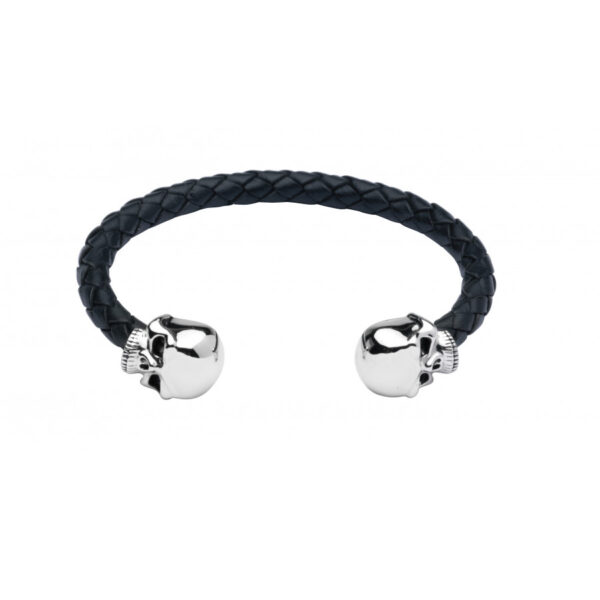 Leather Bangle with Sterling Silver Skull Head Ends