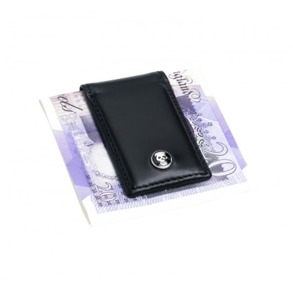 Leather Magnetic Money Clip in Black