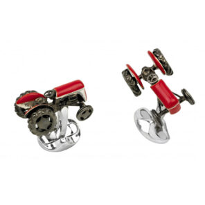 Sterling Silver Red Tractor Cufflinks