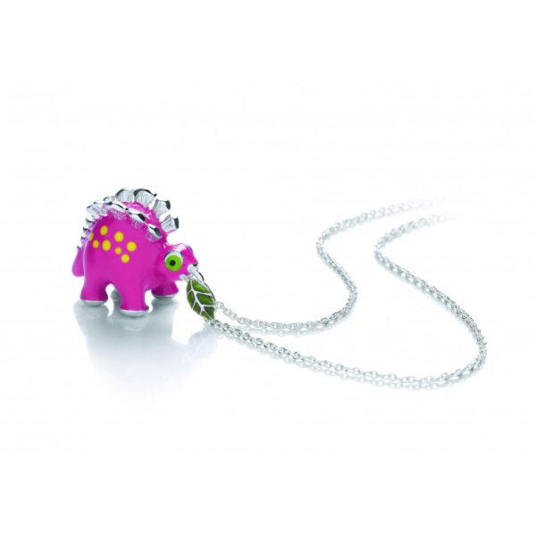 Sterling Silver Pink Dinosaur Pendant