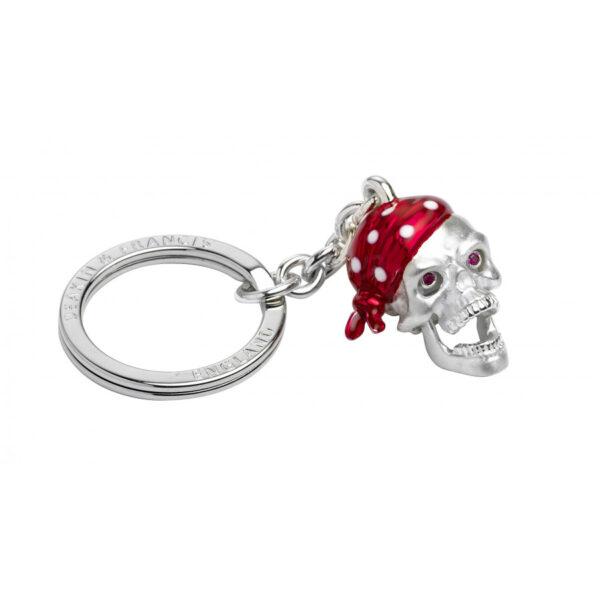 Sterling Silver Red Bandana Skull Keyring