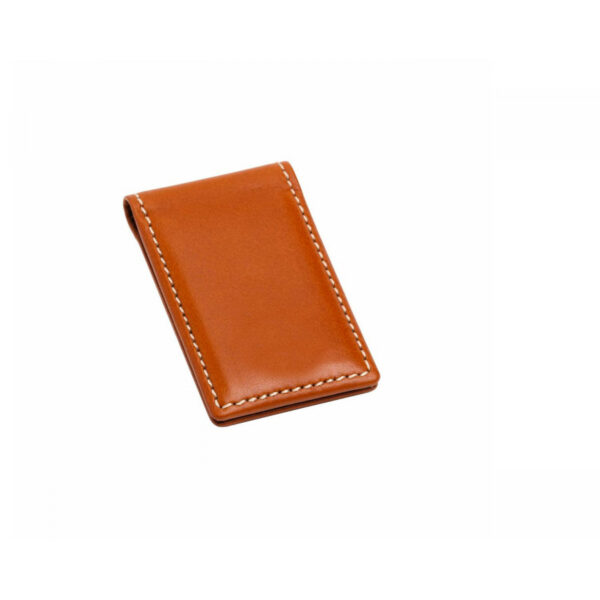 Leather Magnetic Money Clip in Tan