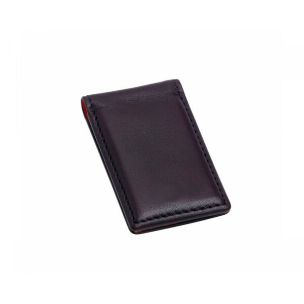 Leather Magnetic Money Clip in Burgundy
