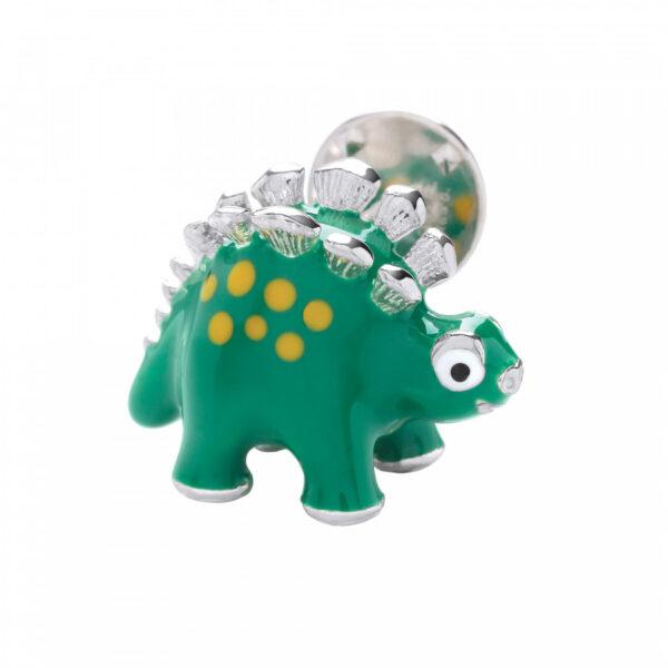 Sterling Silver Green Dinosaur Lapel Pin