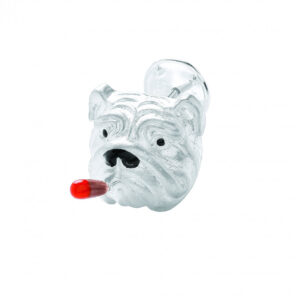 Sterling Silver Bulldog With Cigar Lapel Pin