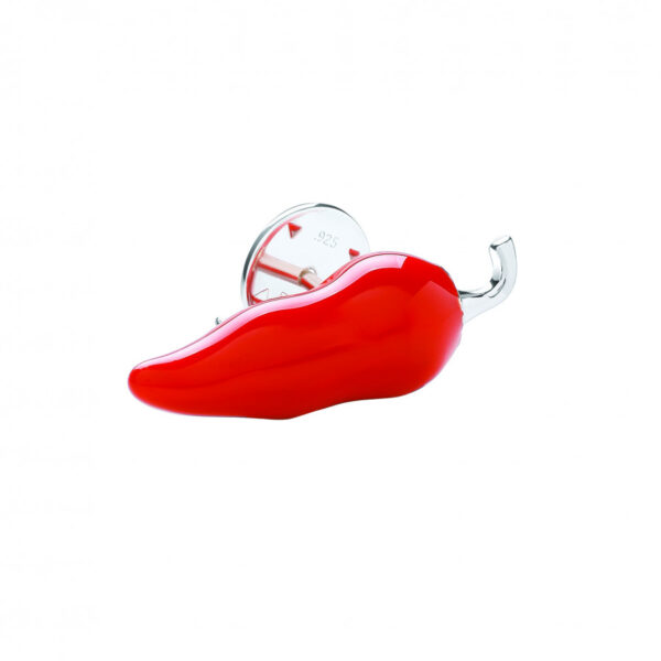 Sterling Silver Red Chilli Lapel Pin