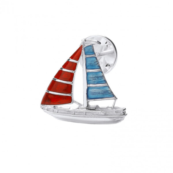 Sterling Silver Yacht Lapel Pin