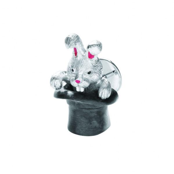 Sterling Silver Rabbit in Hat Lapel Pin