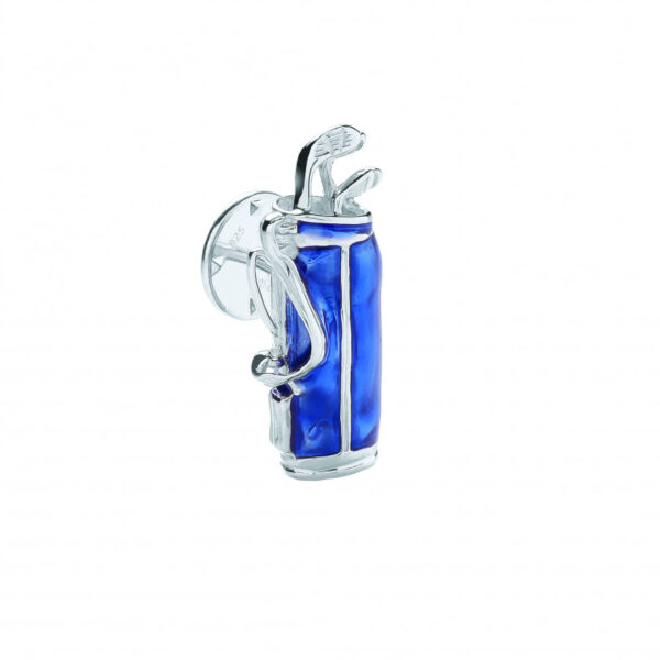Sterling Silver Blue Golf Bag Lapel Pin