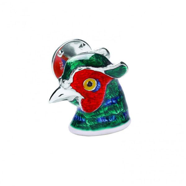 Sterling Silver Pheasant Head Lapel Pin