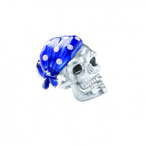 Sterling Silver Blue Skull Bandana Lapel Pin