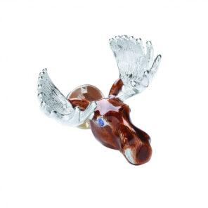 Sterling Silver Moose Head Lapel Pin