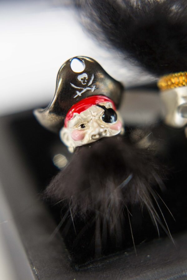 Sterling Silver Pirate Cufflinks with Hairy Black Beard