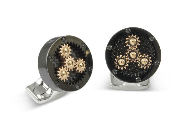 Sun And Planet Gear Cufflinks In Black