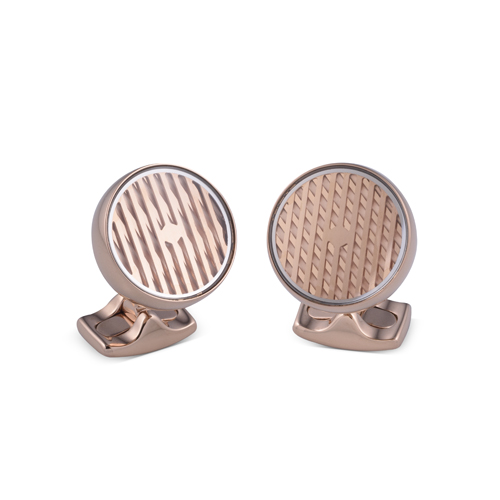 Freely Rotating Kinetic Cufflinks in Rose Gold Finish