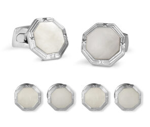 Octagonal Mother-Of-Pearl Dress Stud Set