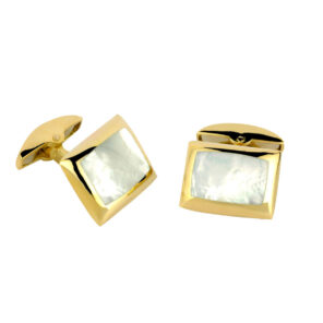18ct Gold Cushion Cufflinks with Mother-of-Pearl Inlay