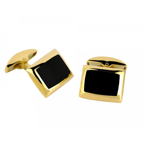 18ct Yellow Gold Cushion Cufflinks with Onyx