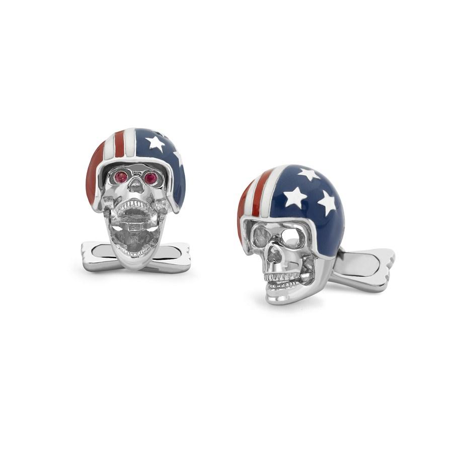 Sterling Silver USA Motorbike Helmet Skull Cufflinks