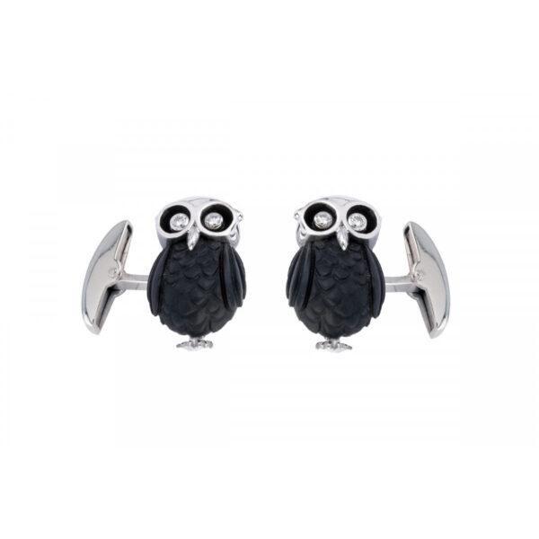 18ct White Gold Owl Cufflinks with Diamond Eyes